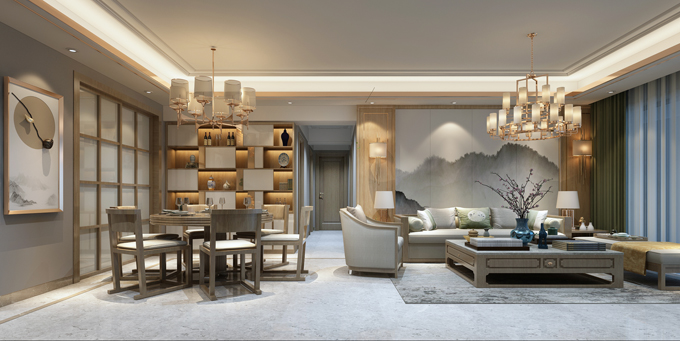 金花茶125平米旧房改造轻奢风格
